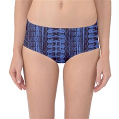 Wrinkly Batik Pattern   Blue Black Mid Waist Bikini Bottoms by EDDArt