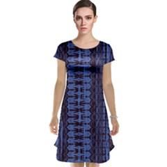 Wrinkly Batik Pattern   Blue Black Cap Sleeve Nightdress by EDDArt