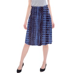 Wrinkly Batik Pattern   Blue Black Midi Beach Skirt by EDDArt