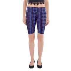 Wrinkly Batik Pattern   Blue Black Yoga Cropped Leggings by EDDArt
