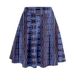 Wrinkly Batik Pattern   Blue Black High Waist Skirt by EDDArt