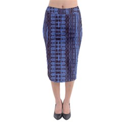 Wrinkly Batik Pattern   Blue Black Midi Pencil Skirt by EDDArt