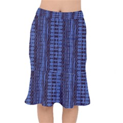 Wrinkly Batik Pattern   Blue Black Mermaid Skirt by EDDArt