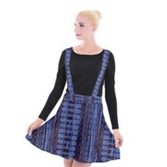 Wrinkly Batik Pattern   Blue Black Suspender Skater Skirt by EDDArt
