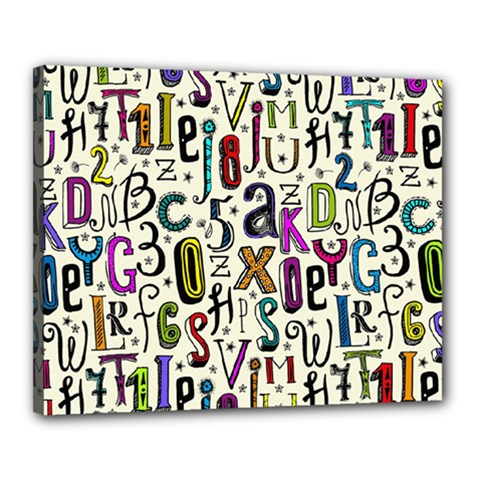 Colorful Retro Style Letters Numbers Stars Canvas 20  X 16  by EDDArt