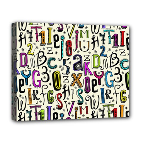 Colorful Retro Style Letters Numbers Stars Deluxe Canvas 20  X 16   by EDDArt