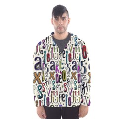 Colorful Retro Style Letters Numbers Stars Hooded Wind Breaker (men) by EDDArt