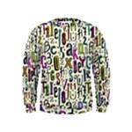 Colorful Retro Style Letters Numbers Stars Kids  Sweatshirt