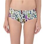 Colorful Retro Style Letters Numbers Stars Mid-Waist Bikini Bottoms
