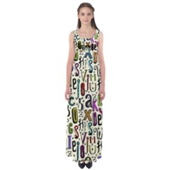 Colorful Retro Style Letters Numbers Stars Empire Waist Maxi Dress by EDDArt