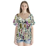 Colorful Retro Style Letters Numbers Stars Flutter Sleeve Top