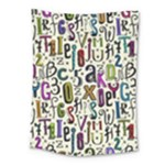 Colorful Retro Style Letters Numbers Stars Medium Tapestry