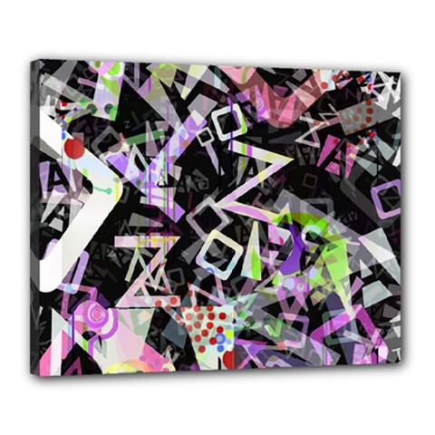 Chaos With Letters Black Multicolored Canvas 20  X 16  by EDDArt