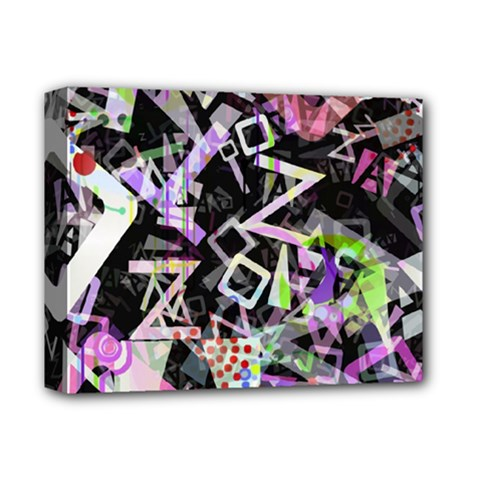 Chaos With Letters Black Multicolored Deluxe Canvas 14  X 11  by EDDArt