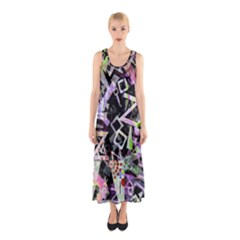 Chaos With Letters Black Multicolored Sleeveless Maxi Dress by EDDArt