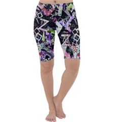 Chaos With Letters Black Multicolored Cropped Leggings  by EDDArt