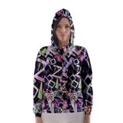 Chaos With Letters Black Multicolored Hooded Wind Breaker (women) by EDDArt