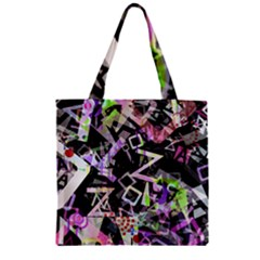 Chaos With Letters Black Multicolored Zipper Grocery Tote Bag by EDDArt