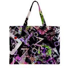 Chaos With Letters Black Multicolored Zipper Mini Tote Bag by EDDArt