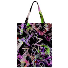 Chaos With Letters Black Multicolored Zipper Classic Tote Bag by EDDArt