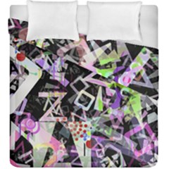 Chaos With Letters Black Multicolored Duvet Cover Double Side (king Size) by EDDArt