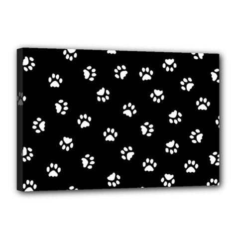 Footprints Cat White Black Canvas 18  X 12  by EDDArt