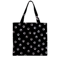 Footprints Cat White Black Zipper Grocery Tote Bag by EDDArt