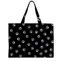 Footprints Cat White Black Zipper Mini Tote Bag by EDDArt