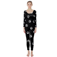 Footprints Cat White Black Long Sleeve Catsuit by EDDArt