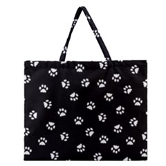 Footprints Cat White Black Zipper Large Tote Bag by EDDArt