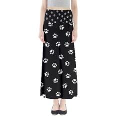 Footprints Cat White Black Maxi Skirts by EDDArt