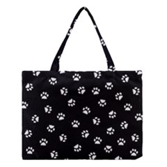 Footprints Cat White Black Medium Tote Bag by EDDArt