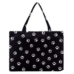 Footprints Cat White Black Medium Zipper Tote Bag by EDDArt