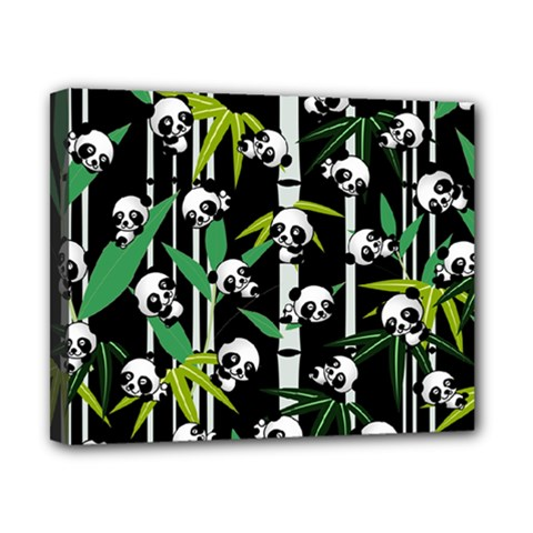 Satisfied And Happy Panda Babies On Bamboo Canvas 10  X 8  by EDDArt