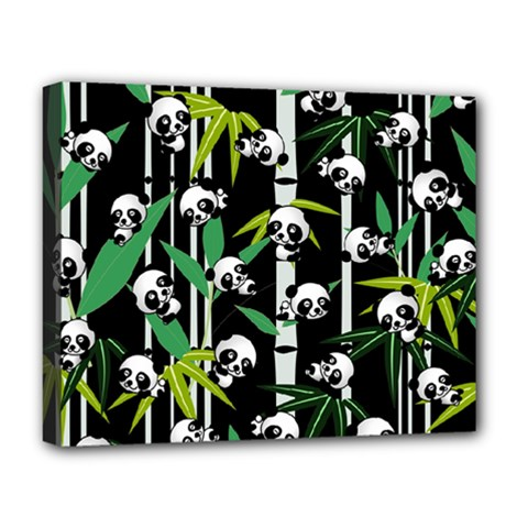 Satisfied And Happy Panda Babies On Bamboo Deluxe Canvas 20  X 16   by EDDArt