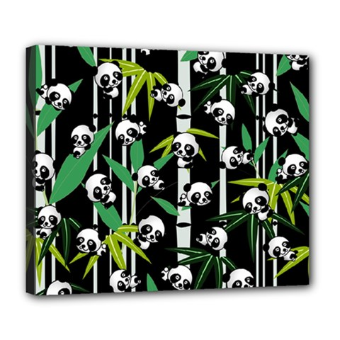 Satisfied And Happy Panda Babies On Bamboo Deluxe Canvas 24  X 20   by EDDArt
