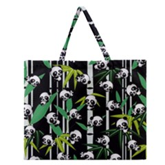 Satisfied And Happy Panda Babies On Bamboo Zipper Large Tote Bag by EDDArt