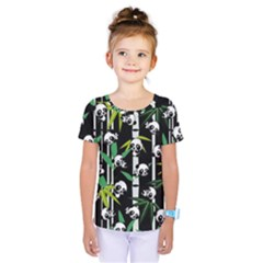 Satisfied And Happy Panda Babies On Bamboo Kids  One Piece Tee by EDDArt