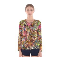 Multicolored Retro Spots Polka Dots Pattern Women s Long Sleeve Tee by EDDArt