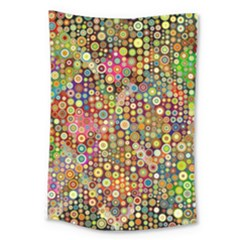 Multicolored Retro Spots Polka Dots Pattern Large Tapestry by EDDArt