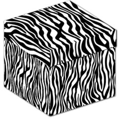 Zebra Stripes Pattern Traditional Colors Black White Storage Stool 12   by EDDArt