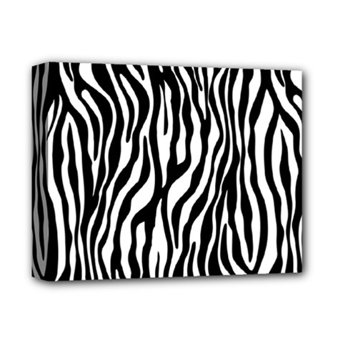 Zebra Stripes Pattern Traditional Colors Black White Deluxe Canvas 14  X 11  by EDDArt
