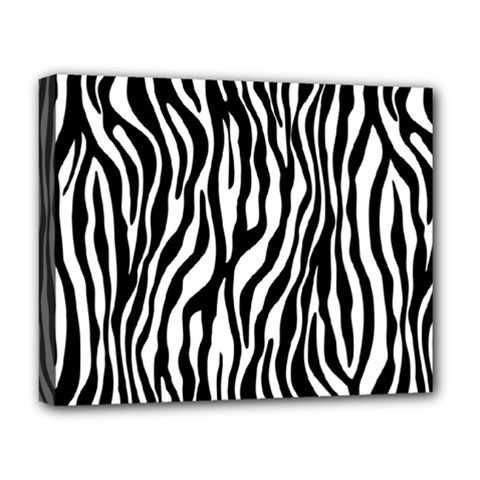 Zebra Stripes Pattern Traditional Colors Black White Deluxe Canvas 20  X 16   by EDDArt