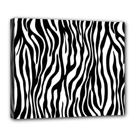 Zebra Stripes Pattern Traditional Colors Black White Deluxe Canvas 24  X 20   by EDDArt