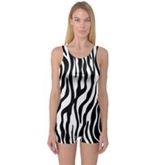 Zebra Stripes Pattern Traditional Colors Black White One Piece Boyleg Swimsuit by EDDArt