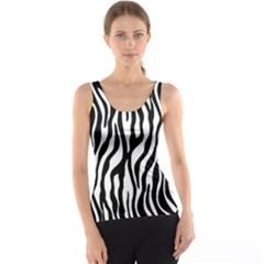 Zebra Stripes Pattern Traditional Colors Black White Tank Top by EDDArt