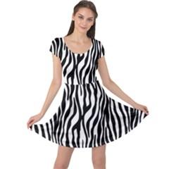 Zebra Stripes Pattern Traditional Colors Black White Cap Sleeve Dresses by EDDArt