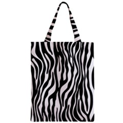 Zebra Stripes Pattern Traditional Colors Black White Zipper Classic Tote Bag by EDDArt