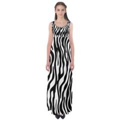 Zebra Stripes Pattern Traditional Colors Black White Empire Waist Maxi Dress by EDDArt