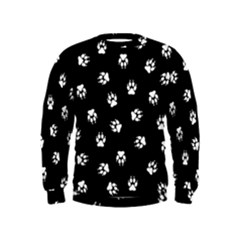 Footprints Dog White Black Kids  Sweatshirt by EDDArt